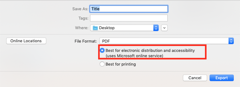 Image demonstrates location of the menu item 'Best for electronic distribution and accessibility' when creating a tagged PDF.