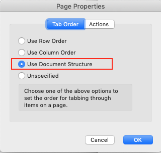 Image demonstrates the changes required in the page properties dialog box.