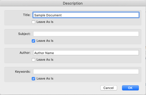 Image shows the changes that need to occur in the descriptions dialog box.