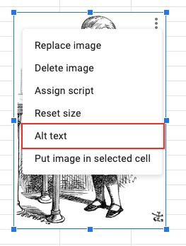 Image demonstrates the location of the Alt Text menu from located in the context menu of an image.