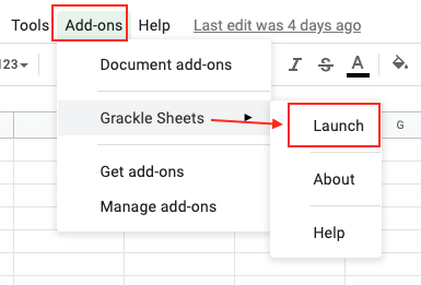 Image demonstrates the location of Grackle Docs add-on, under the Add-ons menu.