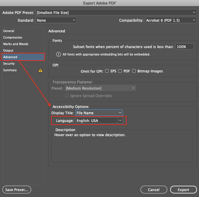 Image demonstrates the Accessibility Options under the Advanced settings section of the Export Adobe PDF dialog box.