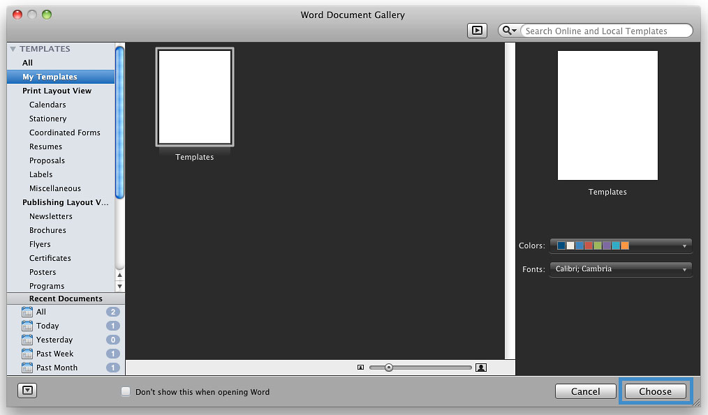 Screenshot of the new template in the gallery.