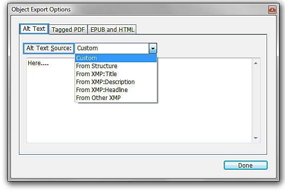 """Image demonstrates the changes that should occur under """"Alt Text"""" in the """"Object Export Options"""" box."""