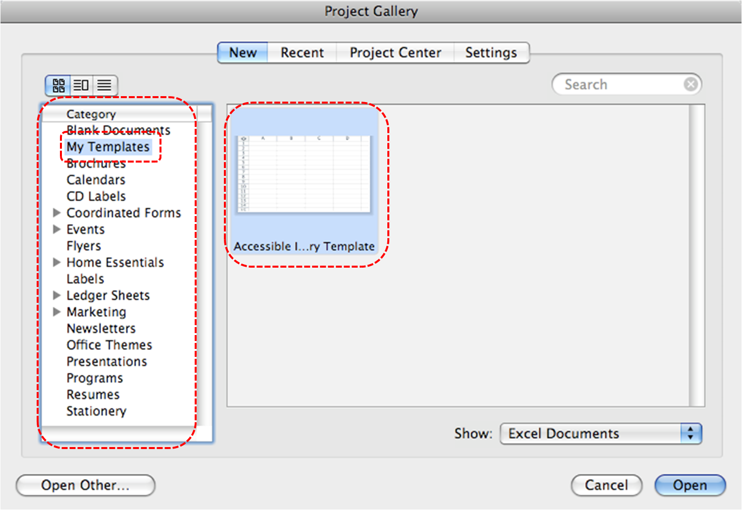 Image demonstrates location of My Templates option in Category section and an accessible template in the tempkate gallery of the Project Gallery dialog.