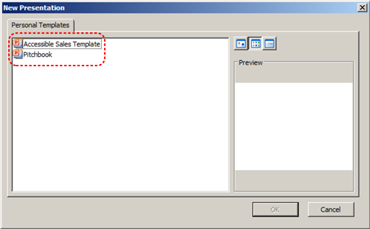 Image demonstrates location of template icons in Personal Templates section of New Presentation dialog.