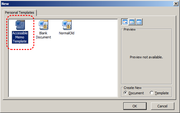 Image demonstrates location of template icons in the Personal Templates gallery.