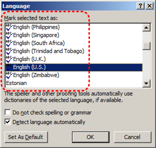 Image demonstrates location of language selection list in the Mark selected text as box in the Language dialog.