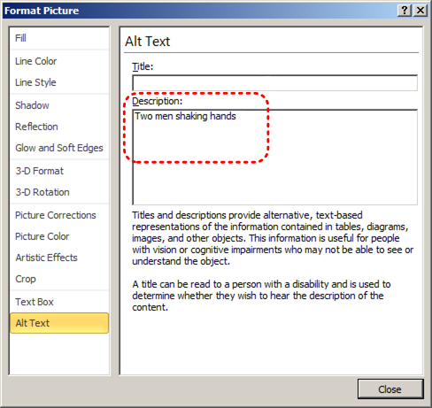 Image demonstrates location of Title and Description boxes in the Alt Text section of Format Picture dialog.