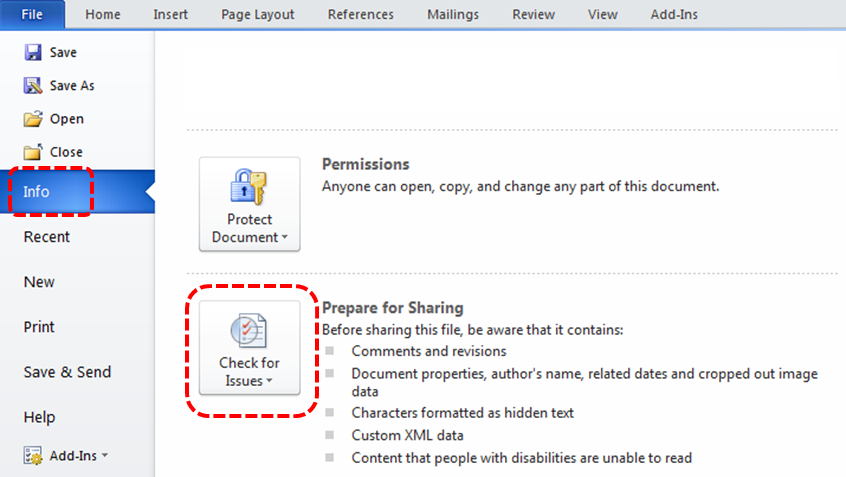 Image demonstrates location of Info and Check for Issues option in the File menu.