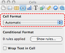 Image demonstrates location of Cell Format section in Inspector dialog.