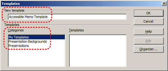 Image demonstrates location of New Template box and Categories options in Templates dialog.