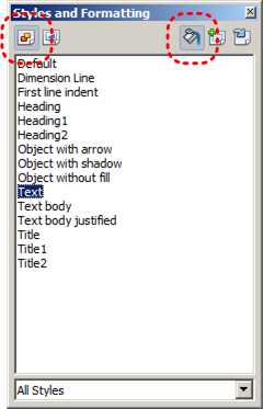 Image demonstrates location of Graphic Styles icon and Bucket icon in Styles and Formatting dialog.