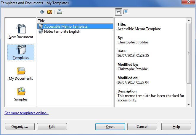Image demonstrates location of Templates icon, Title, and Description in the My Templates dialog.