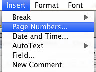"""Image locates """"page numbers"""" under the insert drop down menu."""