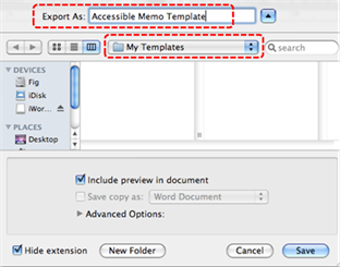 Image demonstrates location of Export As box and the drop-down list to specify a folder in which to save the template.
