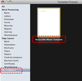 Image demonstrates location of template icon in the Template Chooser dialog.