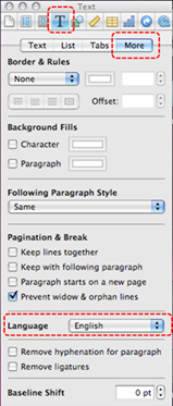 Image demonstrates location of Text button, More tab, and Language section in the Inspector dialog.