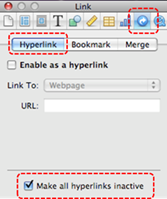 Image demonstrates location of Link inspector button, Hyperlink tab, and Make all hyperlinks inactive checkbox in the Inspector dialog.