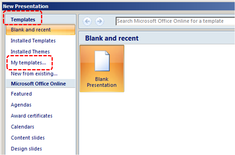 Image demonstrates location of My templates... option under Templates in New Presentation dialog.
