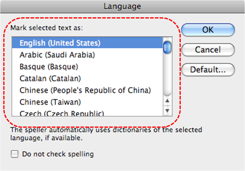 Image demonstrates location of Mark selected text as scrolling-list in the Language dialog.