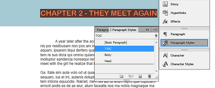 """Image demonstrates the changes that should be made to create the """"table of contents"""" contents."""
