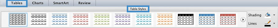 Image demonstrates the location to add style to the table.