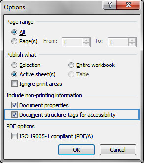 Image demonstrates location of Document structure tags for accessibility check box in Options dialog.