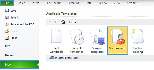 Image demonstrates location of New option and My templates icon in the File menu.