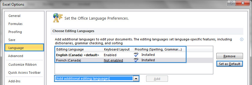 Image demonstrates location of Language option, Editing languages list, Set as Default button and Add additional editing languages option in Options dialog.