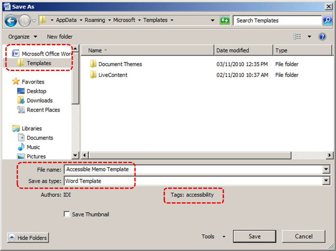 Image demonstrates location of File name, Save as type and Tags text boxes in the Save As dialog.