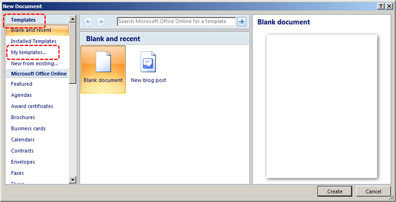 Image demonstrates location of Templates section and My templates option in New Document dialog.
