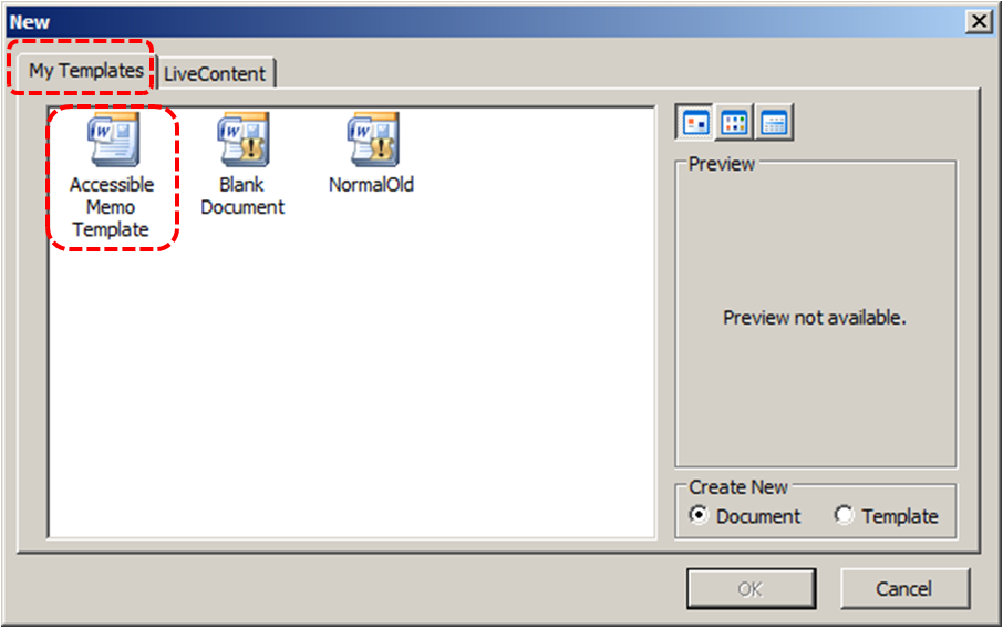 Image demonstrates location of My Templates tab and templates list in the New dialog.
