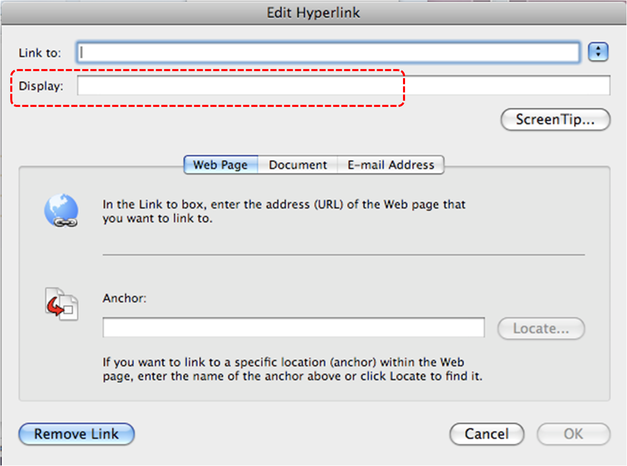 Image demonstrates location of Display box in Edit Hyperlink dialog.