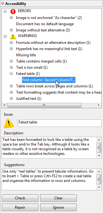 Image of the AccessODF Accessibility Evaluation task panel as it appears on the side of a document that contains numerous errors.