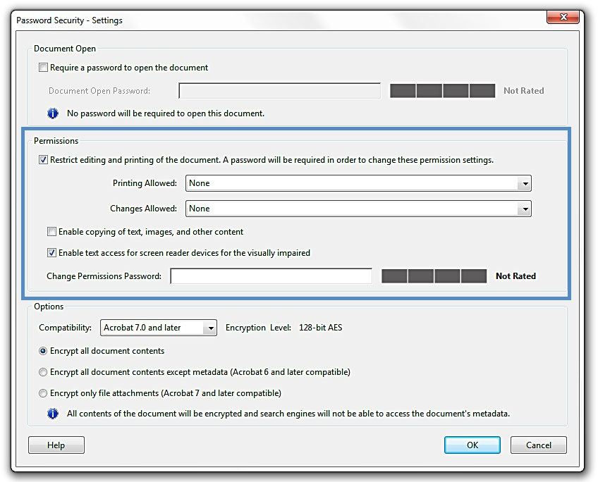 Image show the changes that could occurs in the password security dialog box.