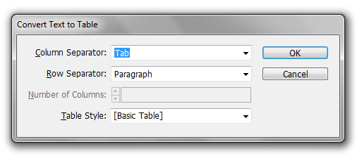 """Image show """"convert text to table"""" dialog box."""