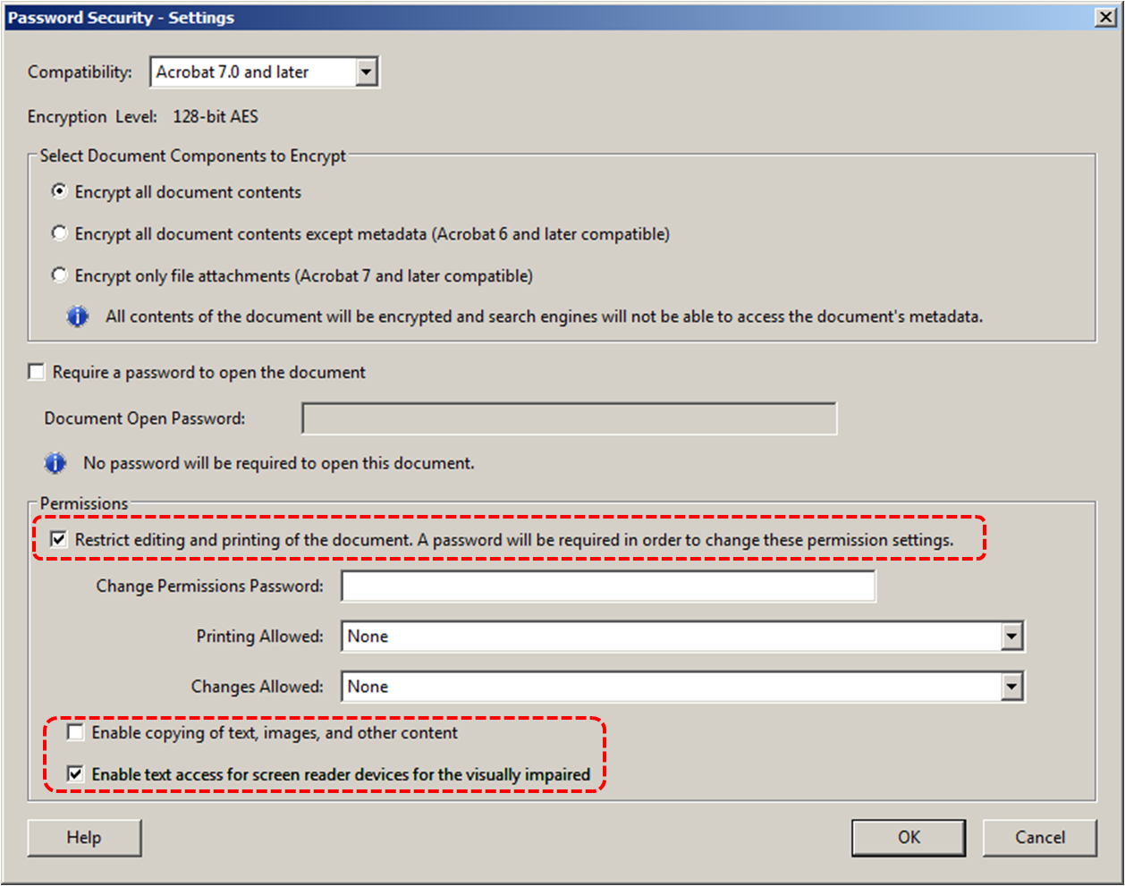 Image demonstrates location of Restrict editing and printing option, Enable copying of text option, and Enable text access for screen readers option in the Password Security - Settings dialog.