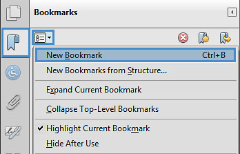"""Image locates """"new bookmarks"""" in the bookmark panel."""