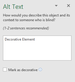 Image shows the Alt Text menu where image descriptions can be added.
