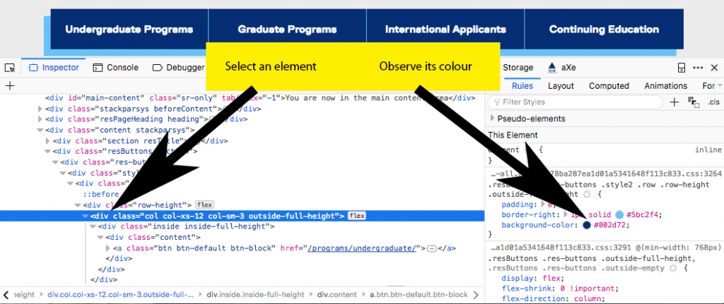 Screenshot of Inspect Element, pointing out a selected element and its associated colours.