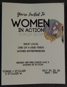 Invitation to the Woman In Action Pop-Up Shop