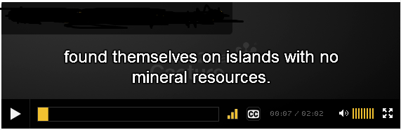 captions being displayed in a player over a black background