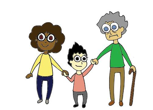 Three diverse people holding hands.
