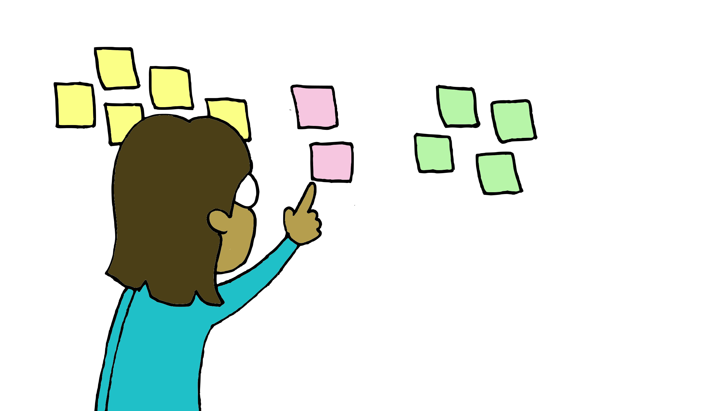Person organizing sticky notes into related groups