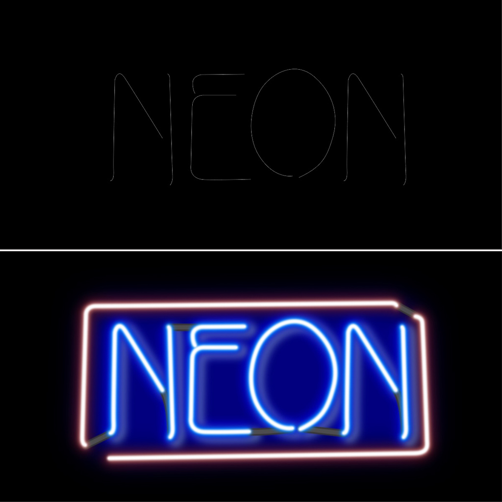 Text with layer styles to appear like a neon light