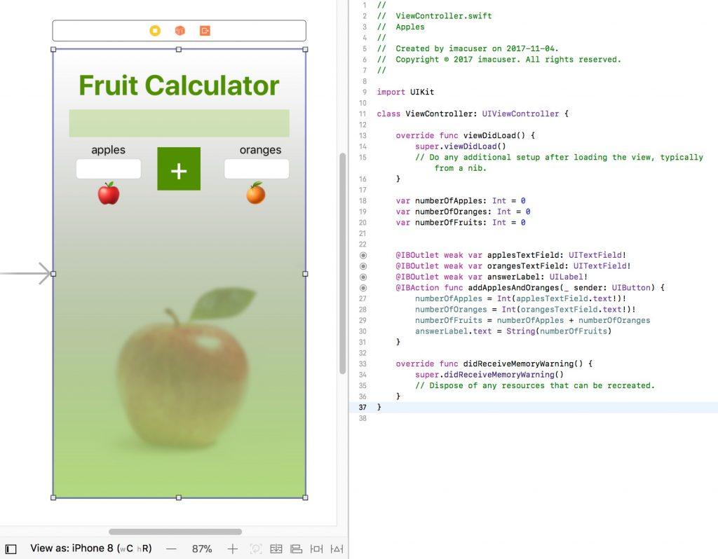 Screenshot of interface of Apple Xcode. The Storyboard with screen layout is shown at left and the ViewController with code at right.